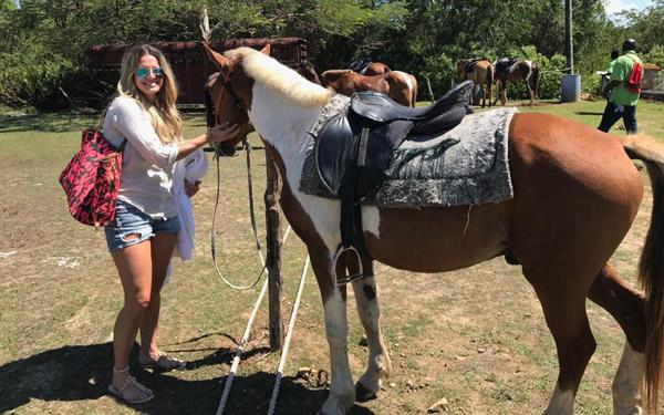 Woman feeding horses